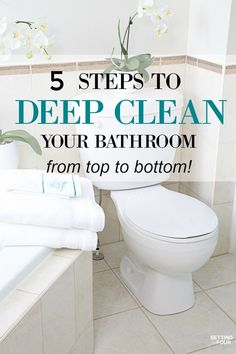 How To Deep Clean Your Bathroom from top to bottom in 5 Steps. Get a thorough clean, remove germs that can make you sick and remove stains. Deep Cleaning Tips, House Cleaning Tips, Cleaning Solutions, Spring Cleaning, Cleaning Hacks, Cleaning Supplies, Toilet Cleaning, Bathroom Cleaning, Cleaning Toilets