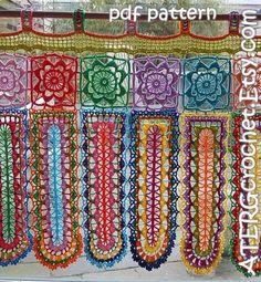 Crochet patrones cortina BOHO 'paneles' por