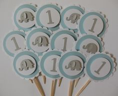 Elephant and 1st Birthday Cupcake Toppers Blue by Whimsiesbykaren, $5.25