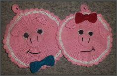 Hæklet grydelap gris garntype: bomuldsgarn fra søstrene grene hækle-nål: 3,5 mm uldnål til påsyning af dele og brodering af mund osv...