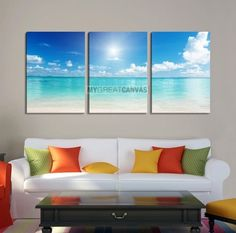 Large Wall Art Canvas Light Blue Beach and Ocean