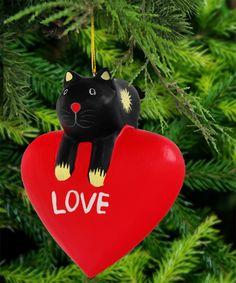 Wooden Love Cat Ornament cats christmas holiday christmas tree noel navidad meowganizer.com