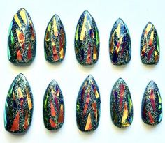 Sorcerer's Opal Talons have a charcoal hologram base with a golden purple iridescence on top. Each nail is lovingly crafted with the highest quality ingredients Hologram, Iridescent, Opal, Slippers, Nail Art, Purple, Makeup Things, Acetone, Silver