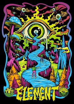 The roadway can either be icy with penguins, snowy with snowboarders, or dry cement road with skateboarders & bikers . Trippy Drawings, Art Drawings, Psychedelic Drawings, Art Hippie, Psychadelic Art, Trippy Painting, Acid Art, Trippy Wallpaper, Stoner Art