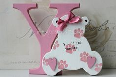 Wooden crafts. Bespoke mdf freestanding letter with mdf Teddy craft shape attached. Nursery or baby rooms decor. A keepsake gift for baby girl or boy. Perfect present for a new born baby or new mum keepsake. Available at www.myourcrafts.co.uk