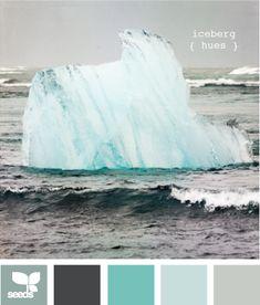 "iceberg hues  Dim down the ""aqua"", keep the charcoal,  throw in some white...and I think that's what I want!"