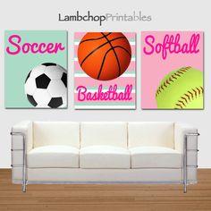 Girl Sports Printable Art, Basketball print, Soccer print, softball Print by LambchopPrintables, $15.00