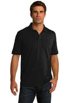 Port & Company 5.5-Ounce Jersey Knit Polo. KP55 Jet black