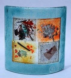 Up for auction is this beautiful lighter blue fused glass art piece. This item was handmade in Greece and has the original stickers on the bottom front. It is made of fused glass and features unique