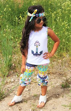 Yellow/Coral/Mint Aztec Anchor Capri Set.... KID or DOLL #boutique-outfits #clearance #daily-deal #daily-deals #new #perfect-sets #spring-line