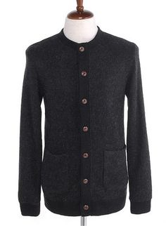 Men Long Sleeve New Style Autumn Individual Korean Style Scoop Dark Grey Blends Cardigan M/L/XL@M02dg