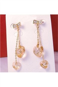 Sweetheart Champagne Crystal Ladys Earrings