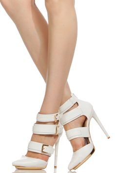 White Faux Leather Gold Accent Pointy Heels @ Cicihot Heel Shoes online store sales:Stiletto Heel Shoes,High Heel Pumps,Womens High Heel Shoes,Prom Shoes,Summer Shoes,Spring Shoes,Spool Heel,Womens Dress Shoes
