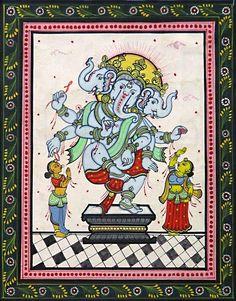 Three Headed Dancing Ganesha (Orissa Paata Painting on Canvas - Unframed))