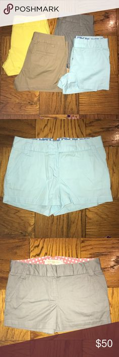 "JCrew 3"" Chino Shorts - 4 pairs 4 pairs of Jcrew Shorts, size 4 3"" broken in chino shorts, classic twill Colors: Gray, Khaki, yellow, light sky blue J. Crew Shorts"