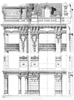 "Paris. Trading house ""La menagere"". Architects Cellier & Laville. The architecture of the second half of the XIX century. Drawings and sketches."