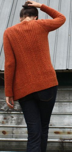 White Pine cardigan pattern by Amy Christoffers (knitting, v-neck, cables, raglan, bottom-up, savory knitting)