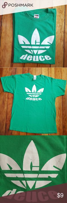 """Ace Duece"" adidas-style parody t-shirt ""Ace Duece"" adidas-style parody t-shirt. Kelly green. 100% cotton. Made in El Salvador of USA fabric. Marked a size L- 21"" armpit to armpit, 27.5"" long. In good condition with some cracking in the graphic, light pilling and tiny stains throughout. #aceduece #annarbor #adidas Shirts Tees - Short Sleeve"
