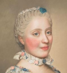 In France, nearly all aristocratic women wore cosmetics.  In fact, the painting of the face was a key part of the public toilette, the informal ceremony where an aristocratic woman dressed her face and hair before an elect audience.  French aristocratic women wore thick layers of white paint, large streaks of rouge, and beauty patches (mouches).  Dauphine Marie-Josephe de Saxe with French court makeup, 1751.