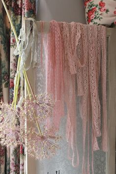Pink Lace Borders & Dried Allium Flowers hanging on a Door ....