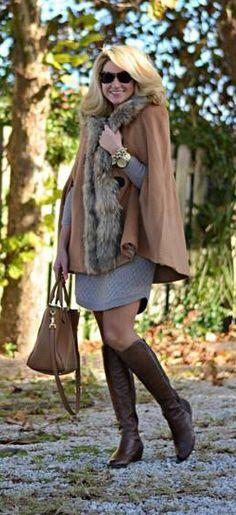 Luxury Khaki Faux Fur Hooded Cape