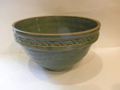 Antique Green Mixing Bowl Stoneware Mixing Bowl Green Stoneware Yelloware Bowl