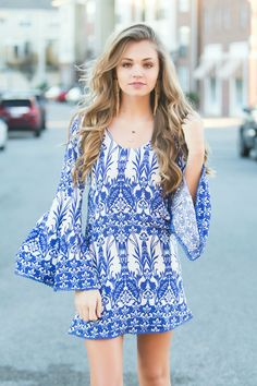 Blue floral bell sleeve dress #swoonboutique