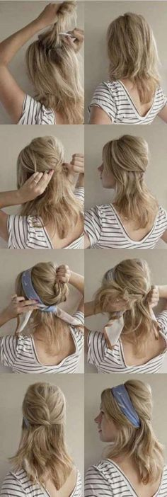 How to wear a headscarf like Blake Lively - Hair Romance How to wear a headscarf. I need to work on this. Bandana Hairstyles, Loose Hairstyles, Pretty Hairstyles, Wedding Hairstyles, Vintage Hairstyles, Glamorous Hairstyles, Vintage Updo, Bandana Updo, Bouffant Hairstyles