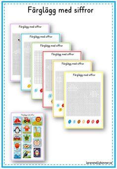 Färglägg med siffror - lararenellybonner.se Math Lessons, Preschool, Teacher, Education, Montessori, Children, Disney Nails, First Grade, Pictures
