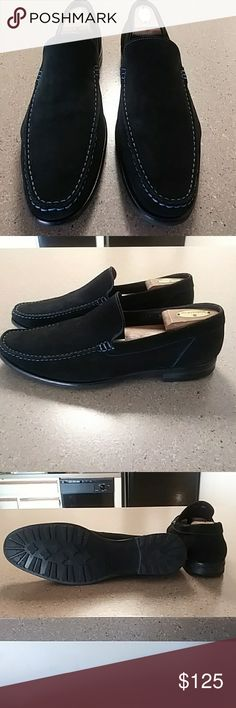 Black suede Italian loafers Black suede with blue stitching, shoe trees included To Boot Shoes Loafers & Slip-Ons