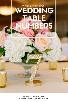 Gold Glitter Wedding Table Numbers | Handmade Wedding Decor & Gifts at www.ZCreateDesign.com... or shop ZCreateDesign on Etsy