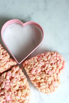 An easy-to-make crowd-pleaser, Rice Krispies treats get so much cuter with the addition of pink food coloring and a heart cookie cuter.