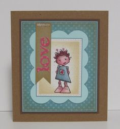handmade love card with girly robot by busygirlart on Etsy, $6.00