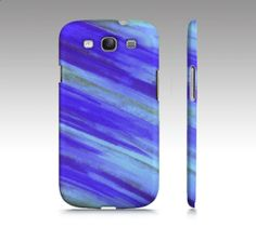 WASHED UP Samsung Galaxy S3 or S4 Hard Plastic by EbiEmporium, $40.00 Stylish fashionable cool trendy fun diagonal stripes modern summer ocean waves royal blue electric blue placid blue turquoise fine art abstract painting design tech device cell phone case, hard plastic cover