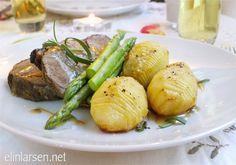 Lammestek med hasselback-poteter, asparges og lammesjy