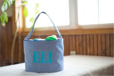 Monogrammable Gingham Easter Basket Tote - BLUE Embroidery Blanks, Embroidery Software, Embroidery Thread, Easter Baskets, Gingham, Lunch Box, Bucket, Make It Yourself, Blue