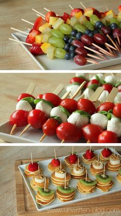 #Appetizers just like the ones Amy made for Jessie's bridal #shower. She drizzled high-end #Balsamic Vinegar over her tomato-mozzarella-basil skewers. Make these for the Usborne Books & More Team Leader Luncheon. www.UsborneNow.com