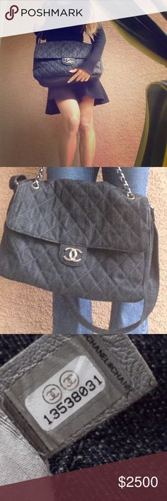 Chanel xl crossbody denim bag Rare hard to find authentic xl crossbody bag 11in High 13 in long CHANEL Bags Crossbody Bags