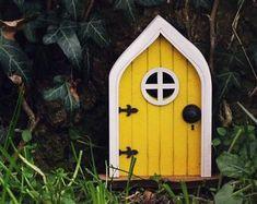Fairy Door 'Iris' in Red Red Fairy door Fairy door | Etsy Fairy Doors On Trees, Fairy Garden Doors, Fairy Gardens, Miniature Gardens, Decoupage Vintage, Tooth Fairy Doors, Elf Door, Garden Fire Pit, Garden Pond