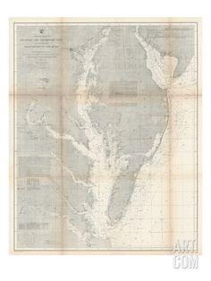1866, Chesapeake Bay and Virginia's Eastern Shore Chart Virginia, Virginia, United States Giclee Print at Art.com