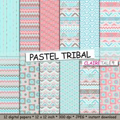 "Tribal digital paper: ""PASTEL TRIBAL"" with tribal patterns and tribal background, arrows, feathers, chevron in pastel blue, pink, brown by ClaireTALE on Etsy"