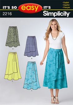 OOP Misses Faux Wrap Pull On Skirt Two Lengths Simplicity 2216 So Easy Pattern Regular and Plus Size 10-18 UNCUT by sandritocat on Etsy