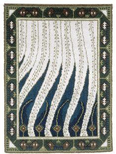 Finnish Art Nouveau rug Liekki (= flame) design by Akseli Gallen-Kallela to Paris World Fair Diy Carpet, Magic Carpet, Art Nouveau, Art Deco, Rya Rug, Flame Design, Rug Hooking, Paris, Textile Art