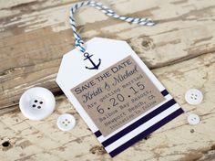 Nautische Save the Date-Tag am Meer Hochzeit von PaperFudge