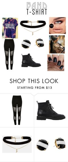 """""""Untitled #53"""" by jenadieu ❤ liked on Polyvore featuring River Island, Giuseppe Zanotti, ASOS, Kate Spade, bandtshirt and bandtee"""