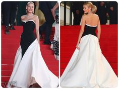 Blake Lively wore this Gucci Première black and white silk gown with a full skirt and princess train at the movie premiere of Captives in Cannes.