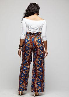 Lina African Print Wide Leg Envelope Pant (Blue Pyramids) – D& - African Print Jumpsuit, African Print Clothing, African Print Dresses, African Print Fashion, African Dress, African Prints, Latest Ankara Styles, Latest African Fashion Dresses, African Attire