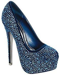 Mascotte Linda 03 High Heel Shoes Stilettos Pumps w/ Rhinestones Royal Blue