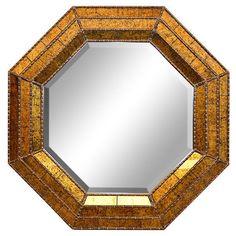 Black Crackle Octagon  Mirror,34''L X 34''H. #Unbranded #Contemporary
