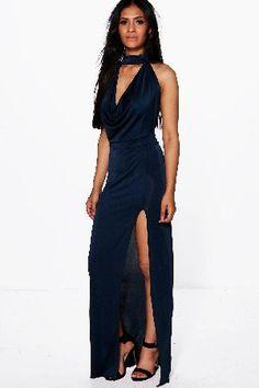 #boohoo High Neck Slinky Cowl Maxi Dress - navy DZZ65229 #Gemma High Neck Slinky Cowl Maxi Dress - navy